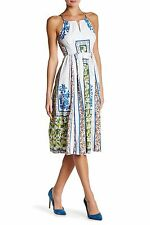 Anthropologie Sz6 Plenty by Trace Reese Halter Midi Dress Woodblock FLR