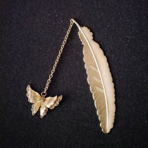 Luminous Bookmark Retro Butterfly Pendant Feather Reading Marker Metal Label