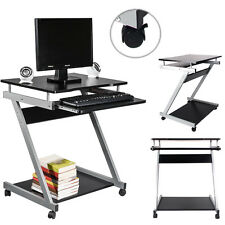 Rolling Computer Desk Portable Laptop Table Work Station Home Office Furniture
