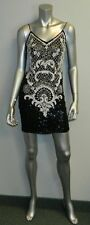 SWEE LO Vintage 80s Black/White Beaded Sleeveless Silk Cocktail Dress sz S