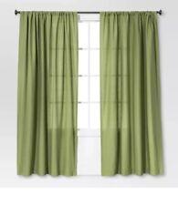 "Threshold Farrah Green 2 Curtain Panels 54"" x 84"" Light Filter New"