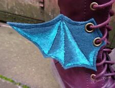 Steampunk Boot Wings Fabric Bat Goth Shoe Accessory Eyelets Green Turq Cosplay