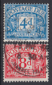 D75-6 1968-9 QE II 4d Blue and 8d Red No Watermark Postage Due pair in VFU-CDS.