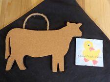 "Cow Shaped Cork Board Wall Hanging 10"" Brown Jute Loop Memo Bulletin"
