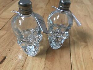 2 x 40ml Skull Head Hip Flask Glass Bottle Wine Whisky Perfect Christmas Gift