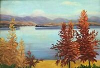 View Across Lake near Muskoka Original Oil Painting by Cdn Artist George Thomson