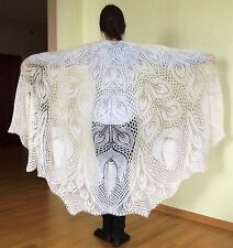 EXCLUSIVE HAND MADE KNITTED HUGE SHAWL LYRA HERBERT NIEBLING LACE PATTERN ANGORA