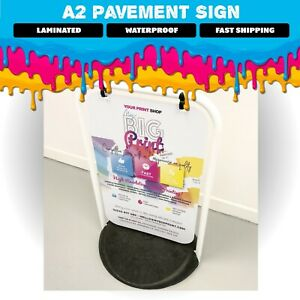 A2 Swinging Pavement Sign LAMINATED, Black or White Frame Options, Waterproof