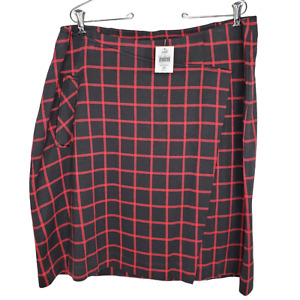 J Jill 2X Skirt NWT Faux Wrap Pocket Black Red Plaid Elastic Waist Cotton Blend