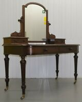 EDWARDS & ROBERTS GILLOW QUALITY MAHOGANY MIRROR BACK BOW FRONT DRESSING TABLE