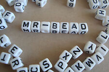 **2 Full Sets of Plastic Cube White Alphabet Beads with Black Colour Letters**