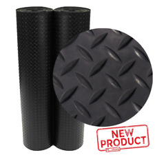 Garage Rubber Mat Flooring 4 x 10 Ft. Roll Diamond Plate Gym Protector Black NEW