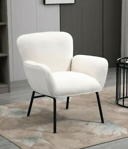 White Boucle Armchair Lounge Chair Accent Retro Armchairs