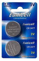 2 x CR2477 3V Lithium Knopfzelle 1050 mAh (1 Blistercard a 2 Batterien) Eunicell