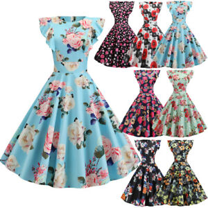 Women's 50s 60s Vintage Rockabilly Wedding Pleated Swing Party Hepburn Dresses!