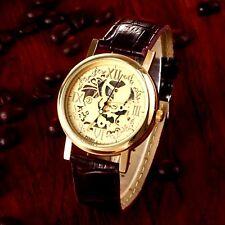 Skelettuhr Damenuhr Armbanduhr Uhr Damen Leder 23 cm Gold Braun Quarz analog