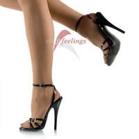 Hohe Damen High Heels Sandaletten Lack Schwarz 13 - 15 cm Absatz Gr. 36 - 45