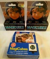 VINTAGE NOS Sylvania & GE Magic Cubes Blue Dot MAGICUBES Lot 3 Packs of 3 Cubes