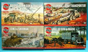AIRFIX 1/76 WWII BOFFORS SCAMMELL OPEL BLITZ PAK40 LCM3 SHERMAN CLASSIC KITS LOT