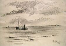 """Manfred Steinhardt 1893-1952 Berlin / Zeichnung """"Camp Mooragh"""" 1940 Ramsey"""