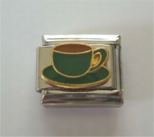 9mm Italian Charm E75 Green Tea Coffee Cup  Fits Classic Size Bracelet