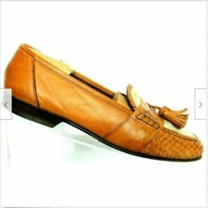 Cole Haan Resort Men's Brown Leather Basket Weave Tassel Slip On Loafer 10 M