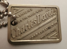 Antique Charge Plate Coin Tag: CHARLES DAVID; Philadelphia Department Store