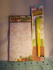 Farm Stationary Set: 100 Sheet Magnetic Lined Notepad & Corn Shaped Pen - NEW