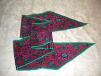 Unbranded Women's Silk Paisley Scarf Magenta Green Aqua Orange Tapered 0321