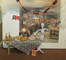 DOLLHOUSE MINIATURE WITCHES PARTY TABLE AND TREATS #2  - OOAK