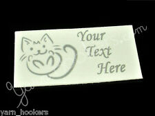 "Kitty Scribble - ""Iron On or  Sew In"" - Cotton Fabric Labels - Yarn Friendly"