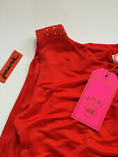 Versace for H&M Red Cape Dress us 6 uk 10 eur 36 gold studded party