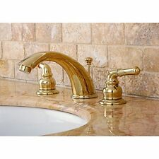 Wide spread Polished Brass Faucet Double Handle Bathroom Sink Counter Mount New