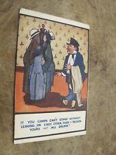 Early Comic / seaside humour Postcard - The drunk & Coats - Tupp