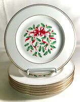 """6 Lenox Snow Holly Gold 8 1/8"""" Accent Salad Plates"""