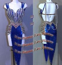 L853 women Ballroom Rhythm salsa Latin samba swing dance dress US 8 fringes