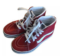 VANS Off The Wall Sneakers High Tops Skateboard Shoes Red Size 12.5 Unisex Youth