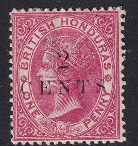 British Honduras 1888 2c on 1d Rose SG27 Fine Mtd Mint