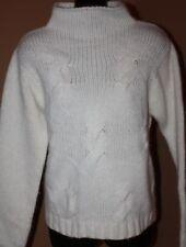PENDLETON White Lambswool Angora LS Mock Turtleneck Sweater LN S