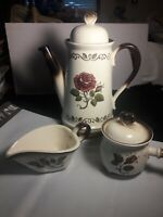 Metlox Poppytrail Provincial Rose Tea Pot, Sugar Bowl w lid, Creamer.  RARE 5PC