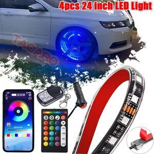 """4x24"""" Wheel Well RGB LED Light Kit Wireless APP Remote Tire Rim Strip Car Truck"""