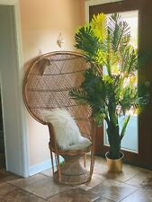 Vintage Wicker 1970s Peacock Chair