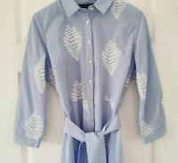 Zara Striped And Embroidered Leaf Tunic / Shirt Dress Medium Used Once