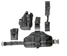 Black Tactical Right Hand Leg Thigh Gun Pistol Holster w/ Removeable Pouch 221BR