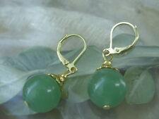 Edelstein Ohrringe Ohrhänger Earrings 12 mm grüner Achat mit goldfarben Brisuren