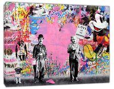 Charlie Chaplin Einstein Street pop Art  Reprint on Framed Canvas Wall Art Decor
