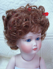 "Playhouse Doll Wig ""Vickie"" 6-7 Auburn - Curls Hi-Pigtails & Pink Ribbons"