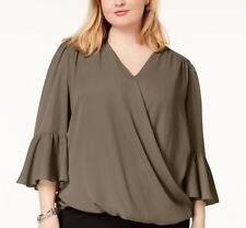 INC International Concepts Plus Size Bell Sleeves High Low Blouse, Size 1X