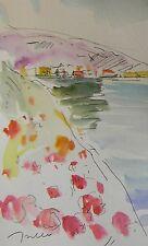 JOSE TRUJILLO ORIGINAL Watercolor Painting IMPRESSIONIST LAKE HOUSES VACATION