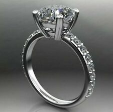 Luxurious 14K White Gold 5.30 Carat Round Moissanite with Diamond Accents Ring
